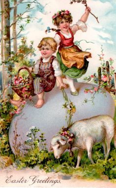 vintage Easter postcard children on giant egg with little lamb