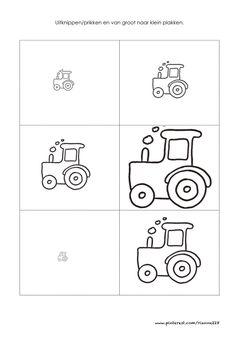Tractor - Knip of prik de plaatjes uit en plak ze op van groot naar klein.