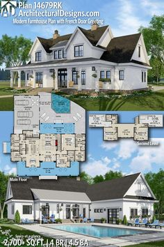 Modern Farmhouse Plan with French Door Greeting Architectural Designs Farmhouse House Plan gives you 4 bedrooms, baths and sq. Where do YOU want to build?Architectural Designs Farmhouse House Plan gives you 4 bedrooms, ba. The Plan, How To Plan, New House Plans, Dream House Plans, Dream Houses, House Plans With Pool, 4000 Sq Ft House Plans, 5 Bedroom House Plans, Sims House Plans