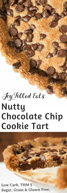 Nutty Chocolate Chip Cookie Tart - Low Carb, Grain Gluten Sugar Free, THM S - My Giant Chocolate Chip Cookie Tart looks like one huge chocolate chip cookie. With only 6 ingredients and a very easy prep, you can have this scrumptious treat in your oven in five minutes.