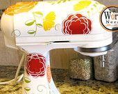 Kitchen Aid Mixer Decals, Vinyl Decal for Kitchen Appliance, Everything's Coming Up Roses-Customize your Colors, Floral Shape Stickers