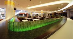 Eastgate Foodcourt in Berlin, Germany using  SentryGlas® Expressions™ decorative PVB interlayer ©FLACHGLAS Wernberg GmbH