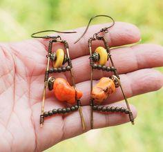 Power Station Yellow Orange Magnesite Unique Wire Wrap Handmade Art Earrings #Jeanninehandmade #DropDangle