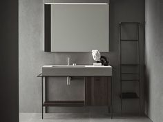 """""""Craft is Novello's last goal in its continuous research for functionality and aesthetic. It is a bathroom furniture collection that recovers the craftsmanship in contemporary form"""" - LUXE DESIGN - (Novello collection, Venice, Italy) Bad Inspiration, Bathroom Inspiration, Interior Design Inspiration, Minimal Bathroom, Modern Bathroom, Bathroom Grey, Industrial Bathroom, Master Bathroom, Furniture Sets Design"""