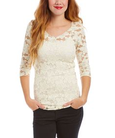 Loving this Young Essence Beige Floral Lace Three-Quarter Sleeve Top on #zulily! #zulilyfinds