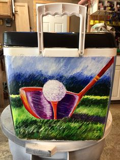 #golf #cooler #frat Sorority Canvas, Sorority Paddles, Sorority Crafts, Sorority And Fraternity, Sorority Recruitment, Nola Cooler, Diy Cooler, Golf Painting, Cooler Painting