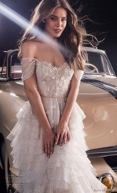 dany mizrachi Fall 2018 Braut weg von der Schulter Schatzausschnitt stark verzierte Mieder überlagert Rock romantisch eine Linie Brautkleid Kapelle Zug (17) zv
