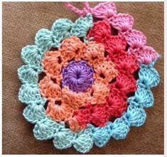 Crochet Shell Stitch, Crochet Motifs, Crochet Circles, Crochet Stitches Patterns, Crochet Squares, Crochet Designs, Knitting Patterns, Crochet Circle Pattern, Crochet Doilies