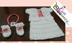 Royal Bahamian Baby crochet dress set with matching headband and booties. Made by Leah Eneas