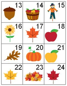 Free printable fall calendar numbers.  Cute!