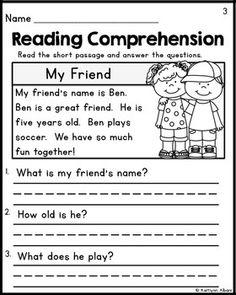 Kindergarten Reading Comprehension Passages - Set 1 FREEBIE ...