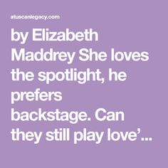 by Elizabeth Maddrey She loves the spotlight, he prefers backstage. Can they still play love's duet? Nick Carter's career as a piano tuner and teacher keeps him off-stage and allows him plenty of t…