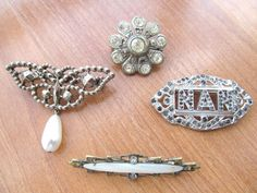 Vintage art deco brooches 4 in lot by lolatrail on Etsy