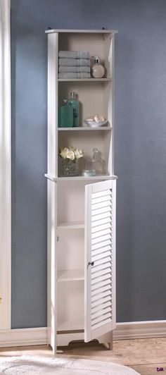 Nantucket Tall White Bathroom, Kitchen, Bedroom Storage Cabinet Louvered Door | eBay - would be perfect in my bathroom