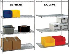 Top Quality Adjustable Metal Wire Shelving Racks Units and Add On Solution Systems: Top quality wire shelves racks units. Our units have the capacity of 600 pounds to 800 pounds per shelf and there are Shelving Racks, Wire Shelving, Shelves, Front Office, Chrome Finish, Storage Solutions, Shoe Rack, The Unit, Steel