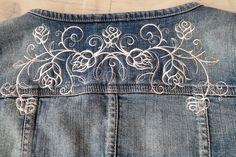 Just Haft: embroidered roses on denim jacket, róże haftowane na jeansowej kurtce