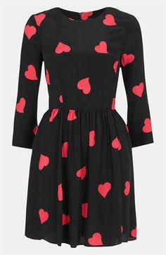 Topshop Heart Print Skater Dress   Nordstrom