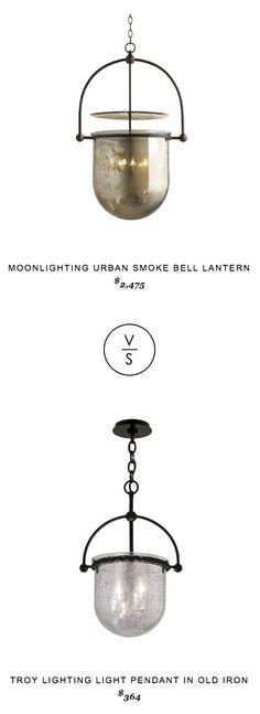 Moonlighting Urban Smoke Bell Lantern $2475 vs Troy Lighting Light Pendant in Old Iron $364