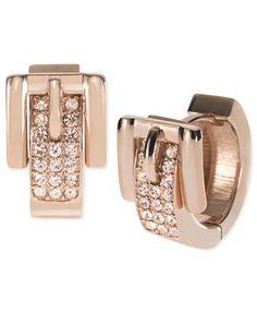 Michael Kors Earrings, Rose Gold-Tone Glass Pave Buckle Huggie Earrings