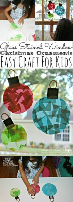 Glass Stained Window Ornaments Kids Craft, DIY and Crafts, Do your kids love creating holiday and Christmas crafts? Check out these beautiful and easy Glass Stained Window Ornaments Kids Craft. Christmas Decorations For Kids, Kids Christmas Ornaments, Christmas Crafts For Kids To Make, Christmas Activities For Kids, Toddler Christmas, Easy Crafts For Kids, Holiday Crafts, Christmas Diy, Glass Ornaments