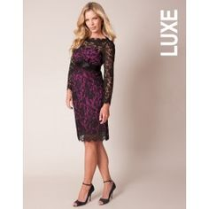 Black Lace and Fuchsia Maternity Cocktail Dress