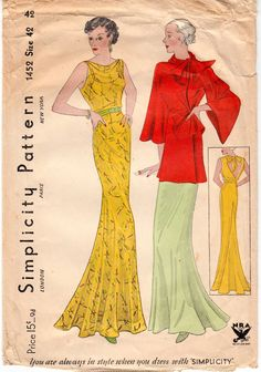 Vintage Sewing Pattern Rare Ladies 1930's Evening Gown by Mrsdepew