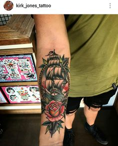 American traditional ship tattoo by Kirk Jones