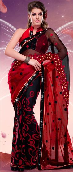 Black and Red Brasso and Net Saree with Blouse