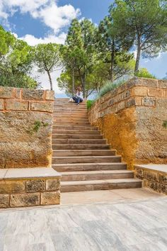 Image 8 of 25 from gallery of Courtyard House of Stone / Studio Photograph by Angelo Geloso Stone Stairs, Wooden Stairs, Courtyard House, Abandoned Houses, Architecture Details, Outdoor Living, Sidewalk, Studio, Exterior