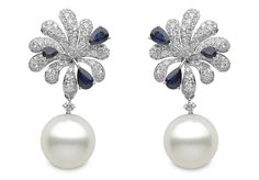 Belgravia Earrings 6 - white gold earrings with sapphires, diamonds and South Sea Pearls - at Yoko, London