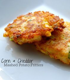 Corn & Cheddar Mashed Potato Fritters - Have leftover corn and mashed potatoes? Make these deliciously simple fritters! Side Dish Recipes, Vegetable Recipes, Vegetarian Recipes, Cooking Recipes, Dinner Recipes, Healthy Recipes, Potato Dishes, Food Dishes, Side Dishes With Potatoes