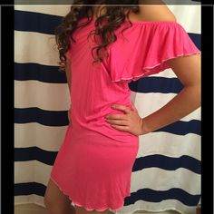 "New Victoria's Secret XS pink off shoulder dress 19""(arm pit to arm pit)-33""(shoulder of strap down to bottom of hem)-100% modal PINK Victoria's Secret Dresses Midi"