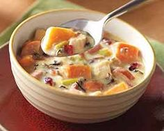Classic fall flavors of cranberries and wild rice slow cooked with sweet potatoes and Kielbasa in a colorful, simple, and scrumptious soup.