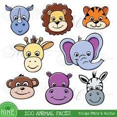 ZOO ANIMAL FACES Clipart Illustrations Digital Clip Art, Instant Download, Elephant Lion Zebra Monkey Giraffe Rhino Vector Art