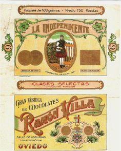 Envoltorio del chocolate LA INDEPENDIENTE, fabricado por Ramón Villa en la calle de Asturias, en Oviedo. Ramón Villa también tuvo fábrica de achicoria, con el mismo nombre. Gracias Carlos Diaz Marcos por enviarnos esta imagen