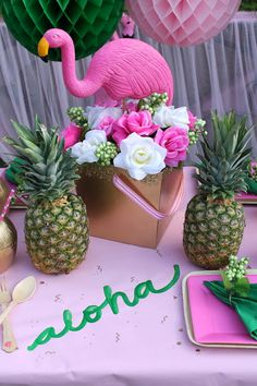 Flamingos continue to be one of the funnest trends for parties. With Summer quickly approaching, a good luau is also a must! Why not combine the two and create a fabulous Flamingle Luau?! LAURA'S little PARTY: Let's Flamingle Luau| Summer Party Ideas Adult Luau Party, Adult Party Themes, Tiki Party, Luau Party Ideas For Adults, Aloha Party, Beach Party, Pink Flamingo Party, Flamingo Birthday, Luau Birthday