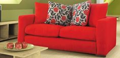 Charming Red Sofas for Gorgeous Living Room: Fabulous Modern Minimalist Red Sofas Floral Cushion Decor Design