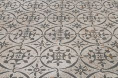 NOTE: lots more designs in link: Hadrian's Villa, black-and-white mosaics with geometric and floral motifs from the Hospitalia (guesthouse). The Hospitalia (guesthouse) was a two-storey buildin...