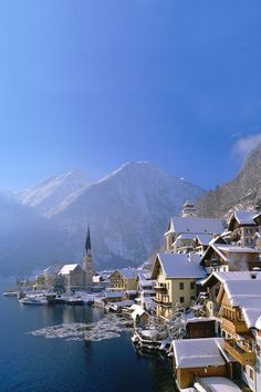 The small town of hallstatt in austria in winter. The Places Youll Go, Places To Go, Travel Around The World, Around The Worlds, Places To Travel, Travel Destinations, Hallstatt, Austria Travel, Europe Travel Guide