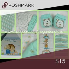 10pc Mint Green Baby Shower Gift Set NEW Beautifully packaged ready for gift giving.  Bear embroidery. 10pcs include hat, booties, bodysuit, long pants, 4-bibs, wash cloth and house box. boutique One Pieces Bodysuits