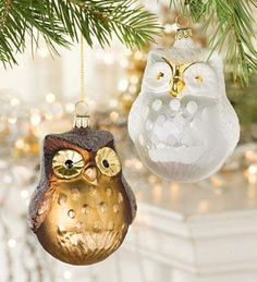 Owl Ornaments...... Imagine on a tree with burgundy and gold frosted mercury glass balls! HP inspired