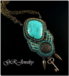 Turquoise magnesite stone and vintage bronze button is embelished with high quality Japanese seed beads. The size of the necklace is 25 inches, the size of the pendant is 3.5 inches - by Guzialia Reed