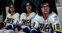 """""""Slap Shot"""" Paul Newman, the Hanson Brothers and old-time hockey. Put on the foil and play! Hockey Rules, Hockey Mom, Ice Hockey, Hockey Stuff, Hanson Brothers, Slap Shot, Blackhawks Hockey, Chicago Blackhawks, New York Rangers"""