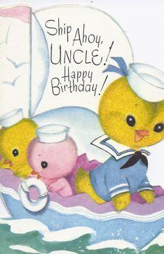 M463 Vintage Happy Birthday Greeting Card by Rust by jarysstuff