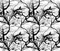 A real picture of vultures in a baobab tree. pretty fabric  Fashion Vultures In Black & White fabric by peacoquettedesigns on Spoonflower - custom fabric
