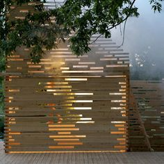 This may be a temporary set-piece, but it still informs ideas of line, light and permeability in home and garden design.