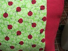 NEW LadyBugs on Green MINI Pillowcase kids/travel pillowcase | MadeAtNanas - Housewares on ArtFire