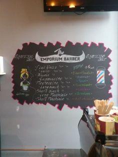 Emporium Barber coffee menu.