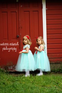 Olivia Kate Couture....Aqua & Red Flower Girl Dress