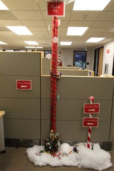 Office Christmas Pole Decorating Contest Stephanie, take note on this one. Christmas Cubicle Decorations, Christmas Party Decorations, Christmas Themes, Christmas Crafts, Office Decorations, Decor Ideas, Decorating Ideas, Decorating Office, Xmas Theme